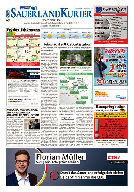 Sauerland Kurier Kreis Olpe vom 25.09.2021