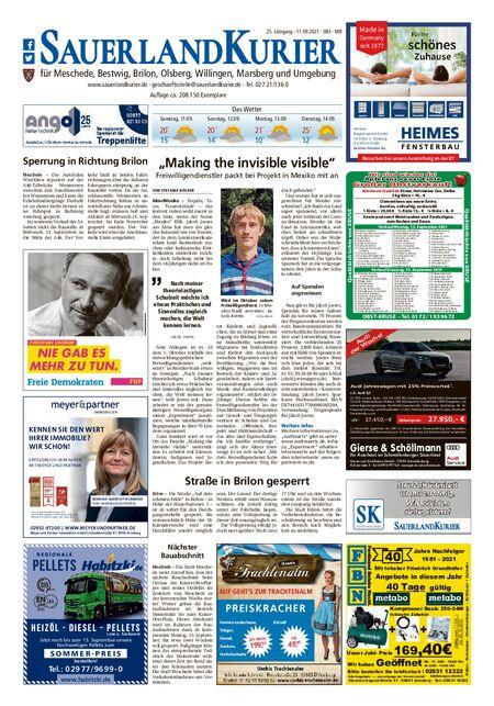 Sauerlandkurier Brilon/Olsberg/Willingen/Meschede/Bestwig vom 11.09.2021